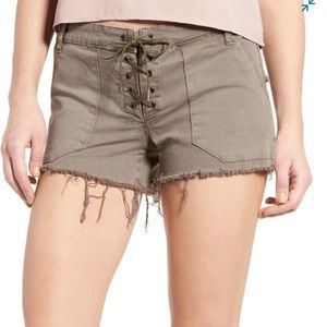 Blank NYC Taupe Brown Lace Up Shorts M